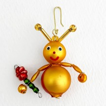 "Beaded Little Ladybug Ornament ~ 2"" ~ Czech Republic"