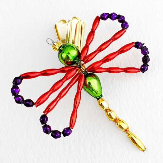"""Multi-color Beaded Clipping Dragonfly Ornament ~ 2-1/2"""" wide ~ Czech Republic"""