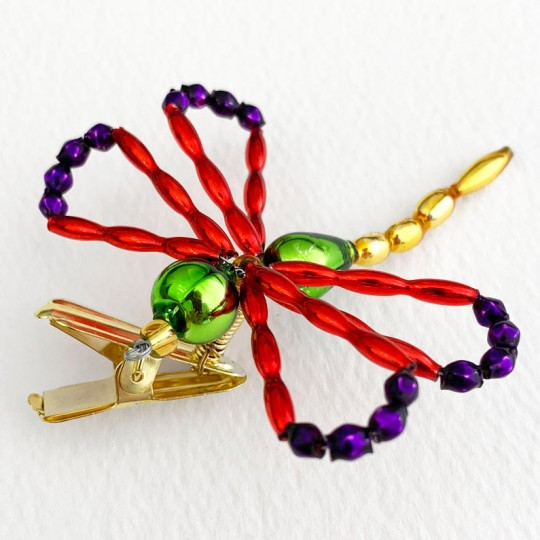 "Multi-color Beaded Clipping Dragonfly Ornament ~ 2-1/2"" wide ~ Czech Republic"