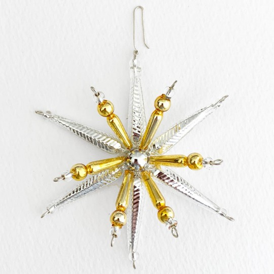 """Silver and Gold Starburst Glass Bead Ornament ~ 3-1/2"""" ~ Czech Republic"""