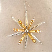"Silver and Gold Starburst Glass Bead Ornament ~ 3-1/2"" ~ Czech Republic"