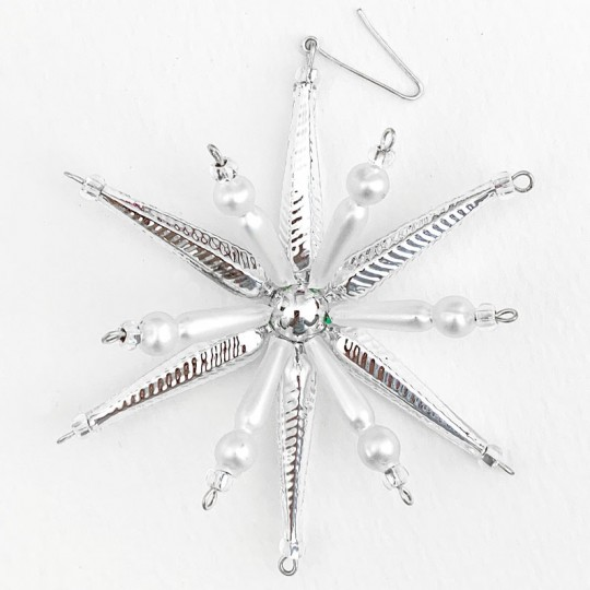 "Silver and Matte White Starburst Glass Bead Ornament ~ 3-1/2"" ~ Czech Republic"