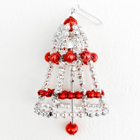 "Silver + Red Glass Bead Bell Ornament ~ 2-1/2"" ~ Czech Republic"