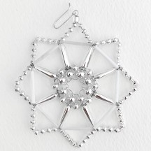 "Silver Fancy Openwork Glass Bead Snowflake Christmas Ornament ~ 3-1/2"" ~ Czech Republic"