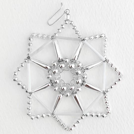 "Silver Fancy Openwork Glass Bead Snowflake Christmas Ornament ~ 3-1/2"" ~ Czech Republic"