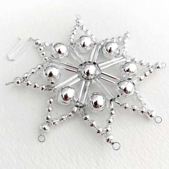 "Silver Fancy Glass Bead Snowflake Christmas Ornament ~ 3"" ~ Czech Republic"