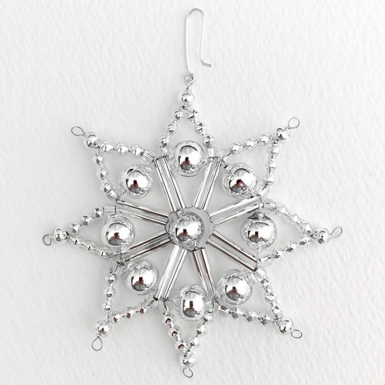 "Silver Fancy Glass Bead Snowflake Christmas Ornament ~ 3"" ~ Czech Republic"