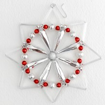 "Fancy Glass Bead Pinwheel Snowflake Christmas Ornament ~ 4"" ~ Czech Republic"