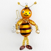 "Beaded Bee Ornament ~ 3-1/2"" ~ Czech Republic"