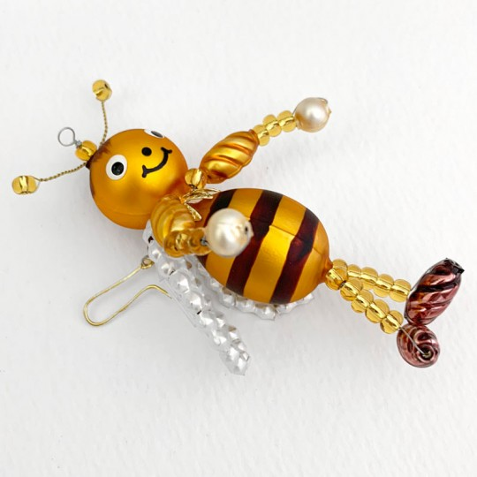 "Beaded Bee Ornament ~ 3-1/2"" ~ Czech Republic"