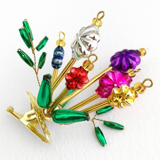 """Beaded Flower Bouquet Clipping Ornament ~ 2-1/2"""" ~ Czech Republic"""