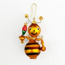 "Beaded Little Bee Ornament ~ 2"" ~ Czech Republic"
