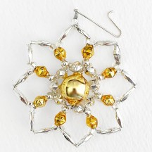 "Silver and Gold Glass Bead Star Flower Ornament ~ 2-1/2"" ~ Czech Republic"