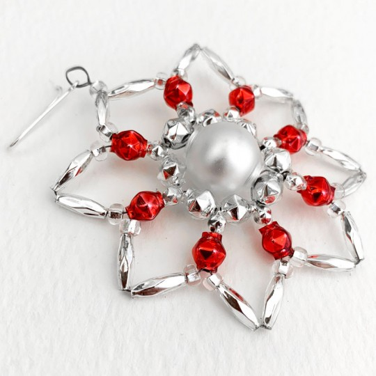 "Silver and Red Glass Bead Star Flower Ornament ~ 2-1/2"" ~ Czech Republic"