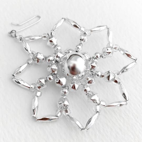 """Silver Glass Bead Star Flower Ornament ~ 2-1/2"""" ~ Czech Republic"""