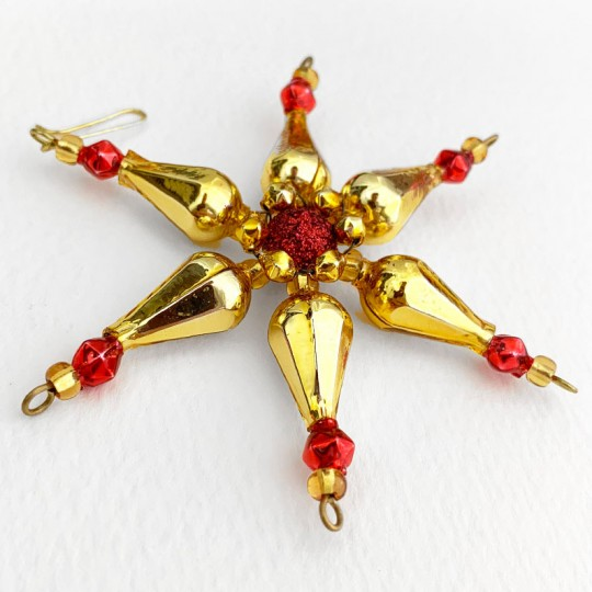 "Red and Gold Glass Bead Pointed Star Ornament ~ 3-1/4"" ~ Czech Republic"