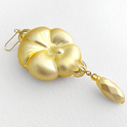 "Pale Yellow Pansy Drop Glass Beaded Ornament ~ 3-3/4"" ~ Czech Republic"