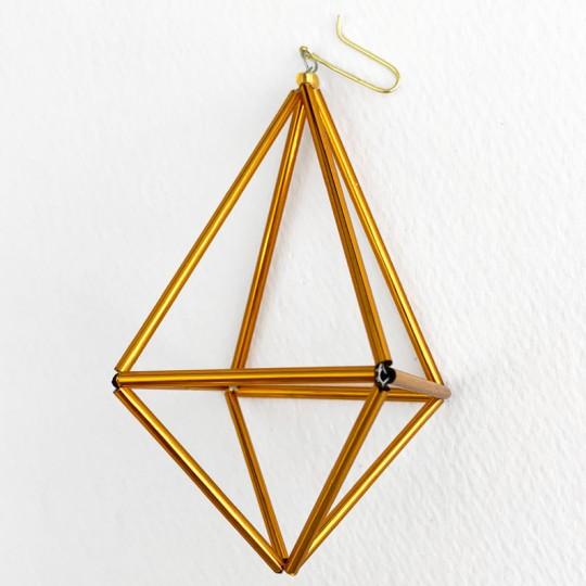 """Golden 3-D Gem Glass Beaded Ornament ~ 3-1/2"""" ~ Czech Republic"""