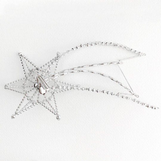 "Fancy Silver Bead Celestial Shooting Star Christmas Tree Topper ~ 9"" long ~ Czech Republic"