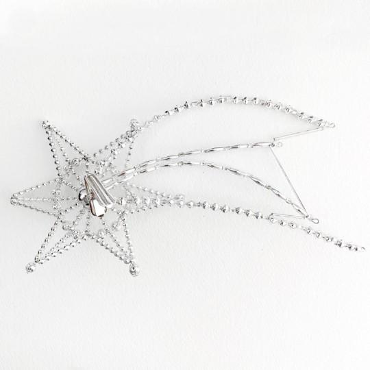 "Fancy Silver Bead Celestial Shooting Star Christmas Tree Topper ~ 9"" long ~ Czech Republic"