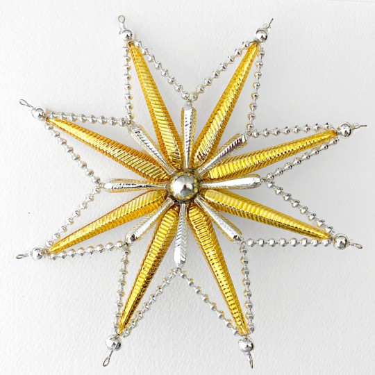 "Fancy Silver and Gold Radiant Star Christmas Tree Topper ~ 7-1/2"" across ~ Czech Republic"