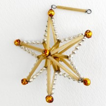 "Silver and Gold Glass Bead Magic Star Ornament ~ 3"" ~ Czech Republic"