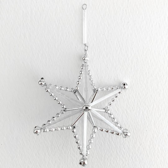 "Silver and Frosted Glass Bead Magic Star Ornament ~ 3"" ~ Czech Republic"