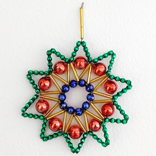 "Multi Color Glass Bead Lace Star Ornament ~ 3"" ~ Czech Republic"