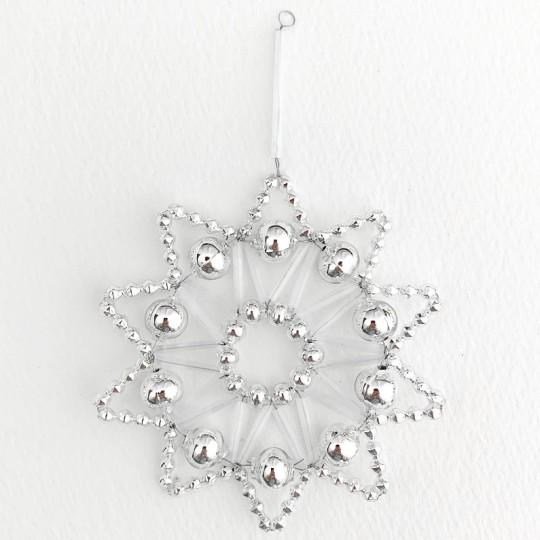 "Silver Glass Bead Lace Star Ornament ~ 3"" ~ Czech Republic"
