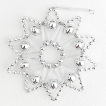 "Silver Glass Bead Lace Star Ornament ~ 3"" ~ Czech Republic"