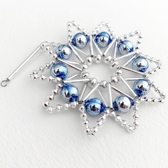 "Blue and Silver Glass Bead Lace Star Ornament ~ 3"" ~ Czech Republic"
