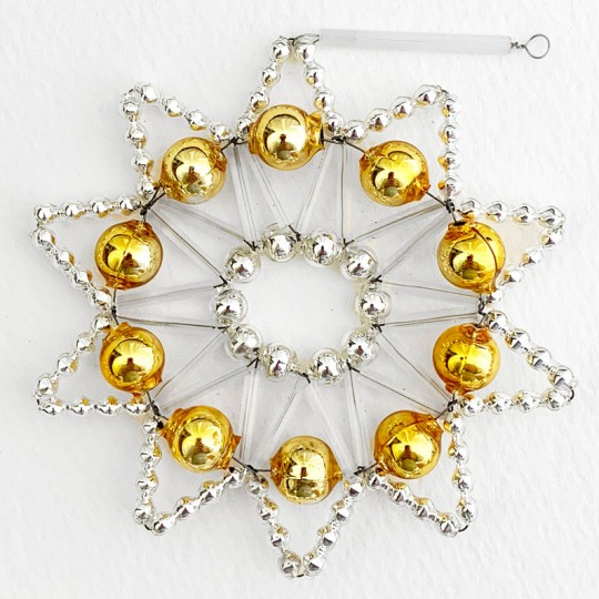 """Gold and Silver Glass Bead Lace Star Ornament ~ 3"""" ~ Czech Republic"""