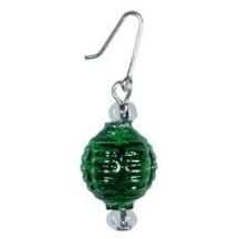 Set of 5 Miniature Beaded Ornaments Green Balls ~ Czech Republic