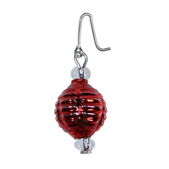 Set of 5 Miniature Beaded Ornaments Red Balls ~ Czech Republic