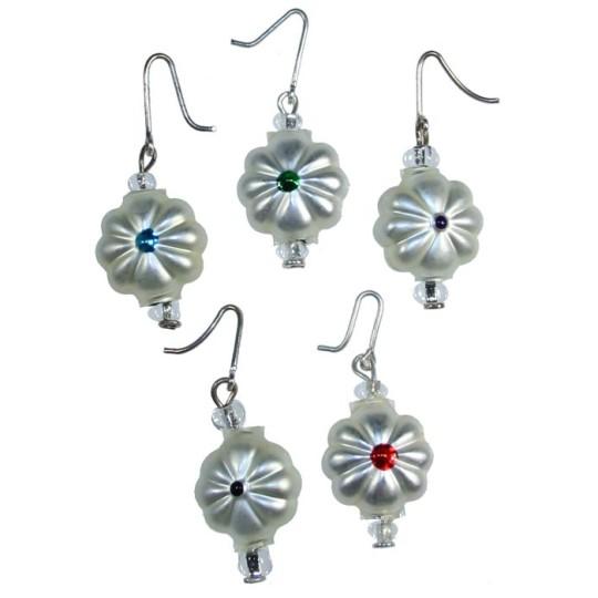 Set of 5 Miniature Beaded Ornaments Flowers with Jewel Tone Centers  ~ Czech Republic