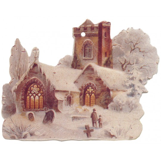 Snowy Church Double-sided Paper Christmas Ornament ~ Old Store Stock USA