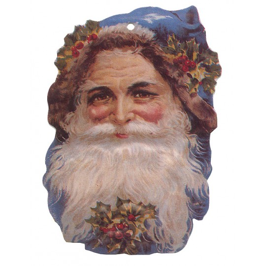 Blue Victorian Santa Double-sided Paper Christmas Ornament ~ Old Store Stock USA
