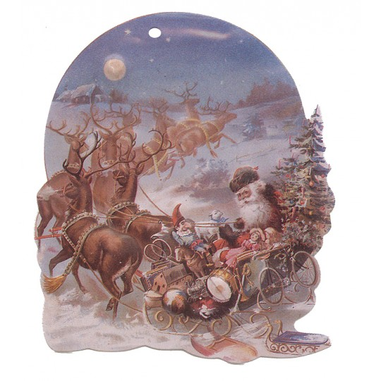 Santa and Reindeer Double-sided Paper Christmas Ornament ~ Old Store Stock USA
