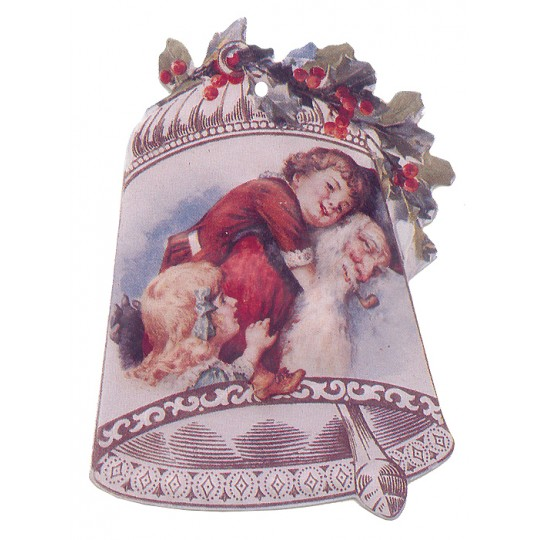 Santa Bell Double-sided Paper Christmas Ornament ~ Old Store Stock USA