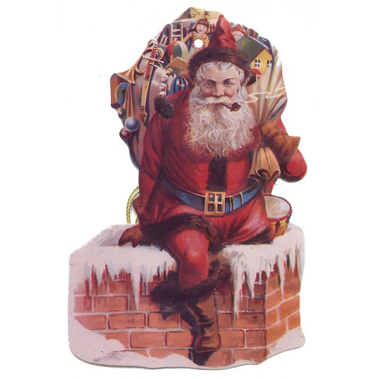 Santa in Chimney Double-sided Paper Christmas Ornament ~ Old Store Stock USA