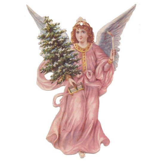 Pink Angel with Tree Double-sided Paper Christmas Ornament ~ Old Store Stock USA