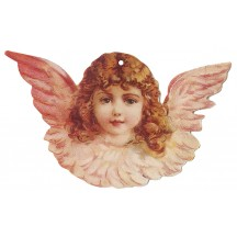 Pink Angel Double-sided Paper Christmas Ornament ~ Old Store Stock USA