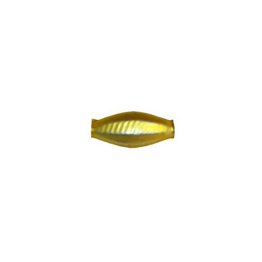 "6 Matte Yellow Fancy Seed Blown Glass Beads .875"" ~ Czech Republic"