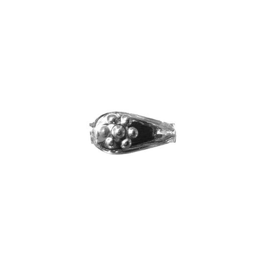 """8 Silver Flower Drop Blown Glass Beads .75"""" ~ Czech Republic"""