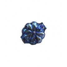 "7 Blue Fancy Flower Blown Glass Beads .625"" ~ Czech Republic"