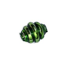 """6 Green Banded Round Glass Beads .625"""" ~ Czech Republic"""