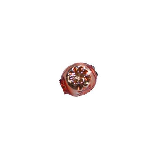 "8 Copper Round Indent Blown Glass Beads .5"" ~ Czech Republic"