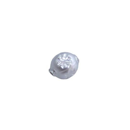 "8 Matte White Round Indent Blown Glass Beads .5"" ~ Czech Republic"