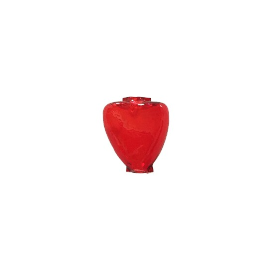 """7 Clear Red Heart Blown Glass Beads .625"""" ~ Czech Republic"""