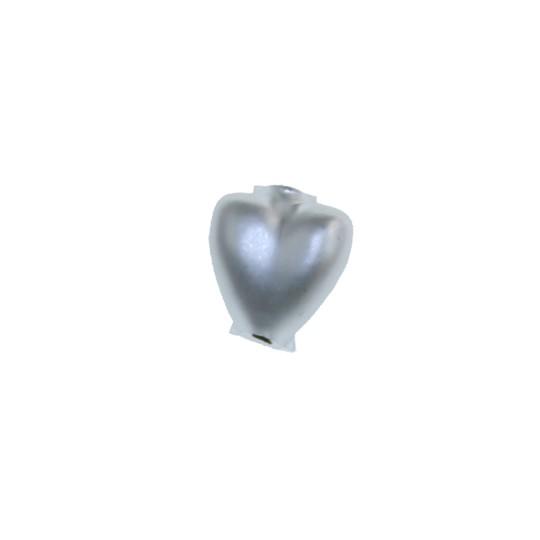 """7 Matte White Heart Blown Glass Beads .625"""" ~ Czech Republic"""